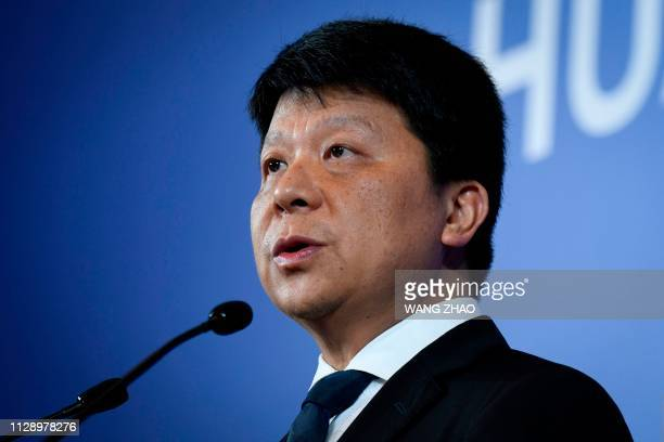 Huawei's rotating chairman Guo Ping speaks during a press conference in Shenzhen China's Guangdong province on March 7 2019 Chinese telecom giant...