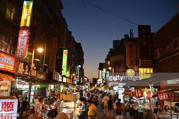 Huaxi St. night market at dusk, Taipei, Taiwan
