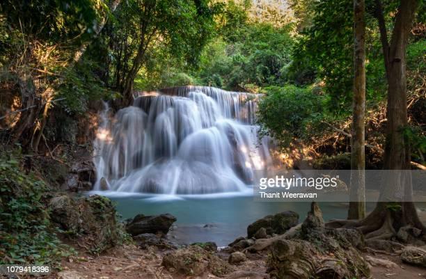 huay mae khamin waterfall, kanchanaburi, thailand. the beautiful waterfall in thailand. - カンチャナブリ県 ストックフォトと画像
