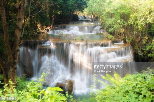 huay maekamin waterfall is beautiful waterfall in tropical fores - forens stock pictures, royalty-free photos & images