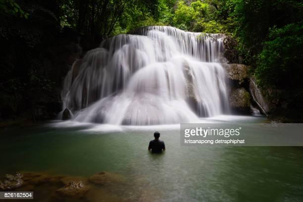 Huaymaekamin Waterfall is beautiful waterfall in Kanchanaburi , Thailand
