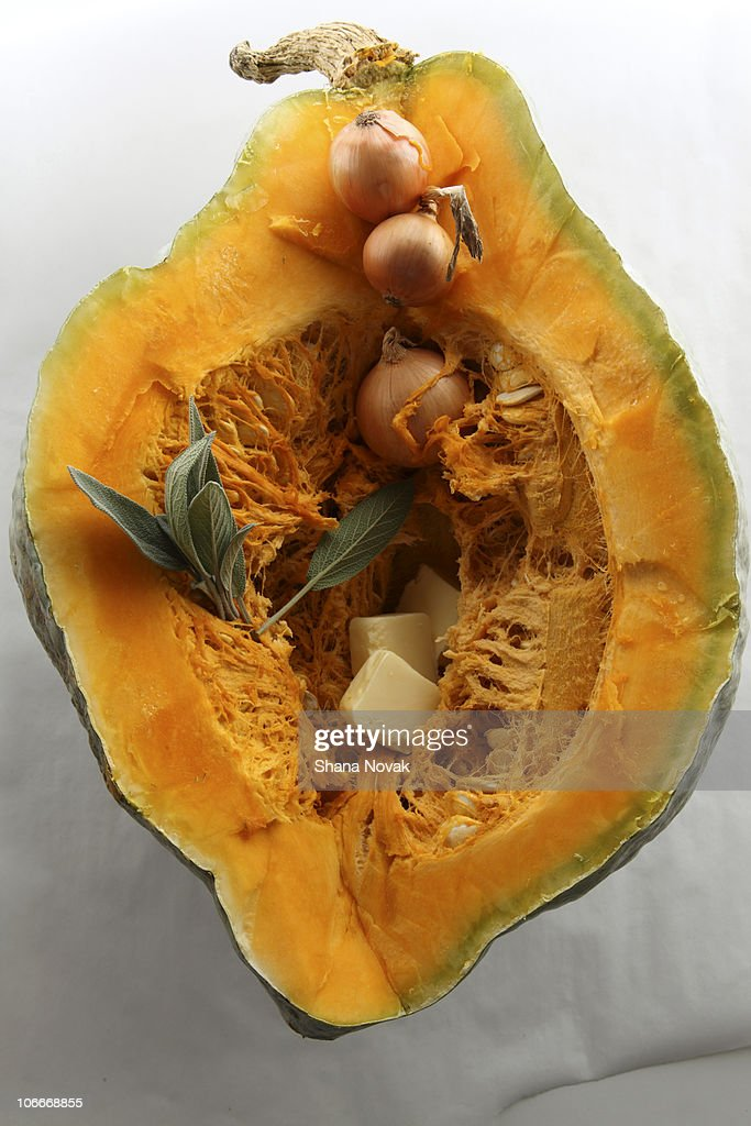 Hubbard Squash with Sage, Onion, and Butter : Stock Photo