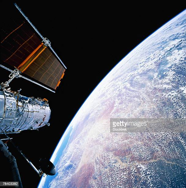 Hubble Space Telescope above earth