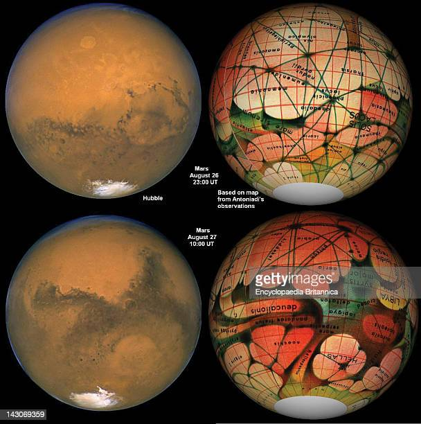Hubble Telescope Image Mars As Seen By The Hubble Space Telescope Compared With A Map Of Mars Based On French Astronomer Eugene Antoniadi'S...