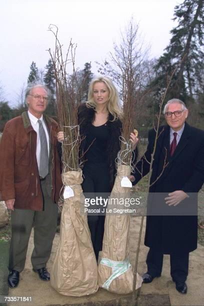 Hubert Astier President of the Chateau de Versailles estate Adriana Karembeu and Joel Cottin Head Gardener of the 'Peit Parc'