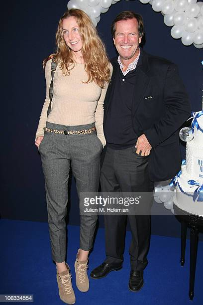Hubert Auriol and his daughter attend the 'Mamma Mia ' Paris premiere at Theatre Mogador on October 28 2010 in Paris France