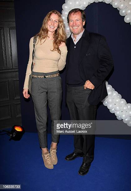 Hubert Auriol and Jenna poses for the premiere of 'Mamma Mia' Paris Premiere at Theatre Mogador on October 28 2010 in Paris France