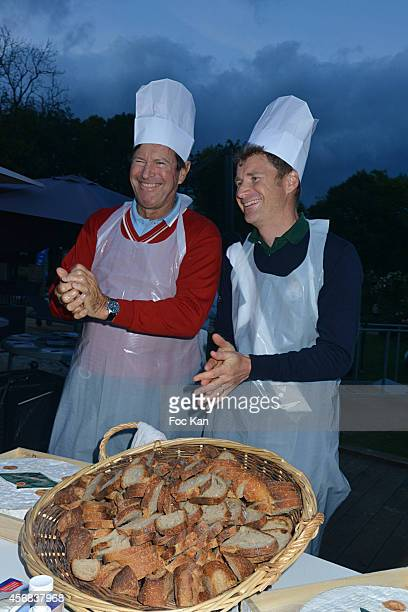 Hubert Auriol and Stephane Chardon attend the 'Tee Break Gourmand' Auction Golf Competition hosted by Matrix to benefit SOS Gazelles at the Golf d'...