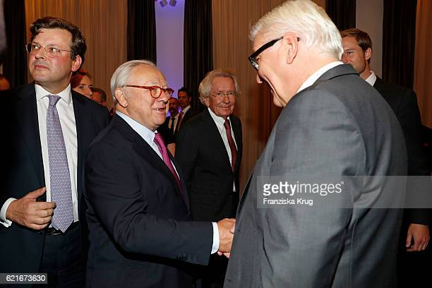 Hubert Burda and FranzWalter Steinmeier during the VDZ Publishers' Night 2016 at Deutsche Telekom's representative office on November 7 2016 in...