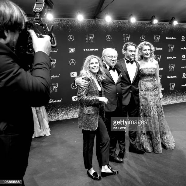 Hubert Burda and his wife Maria Furtwaengler-Burda with son Jacob and daugther Elisabeth attend the 70th Bambi Awards at Stage Theater on November...