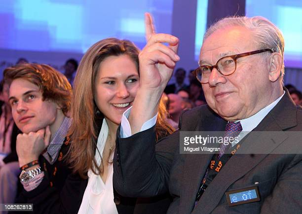 Hubert Burda publisher and DLDCoChairman and his daughter Elisabeth Burda and son Jacob Burda attend the Digital Life Design conference at HVB Forum...