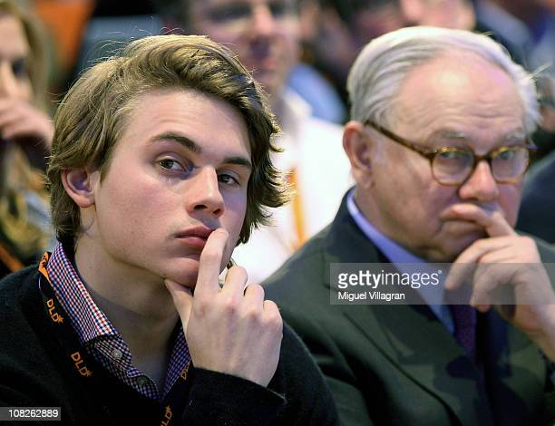 Hubert Burda publisher and DLDCoChairman and his son Jacob Burda attend the Digital Life Design conference at HVB Forum on January 23 2011 in Munich...