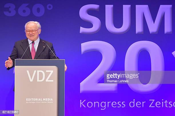 Hubert Burda speaks during day 1 of the VDZ Publishers' Summit at BCC Berlin on November 7 2016 in Berlin Germany