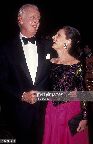 Hubert de Givenchy and Audrey Hepburn attend Eighth Annual Night of Stars Fashion Gala on November 3 1991 at the Waldorf Hotel in New York City