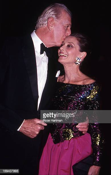 Hubert de Givenchy and Audrey Hepburn attend the 'Night of Stars' gala held at the Waldorf Astoria New York New York 1991