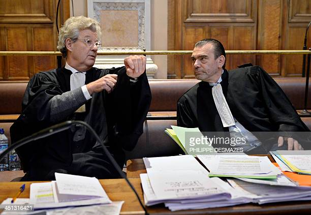 Hubert Delarue and Frank Berton lawyers of Stephane Moitoiret and Noëlla Hego accused of the murder in 2008 of tenyear old Valentin talk in the Lyon...
