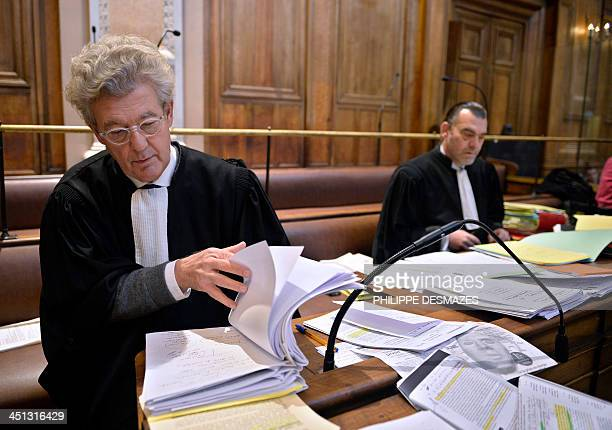 Hubert Delarue and Frank Berton lawyers of Stephane Moitoiret and Noëlla Hego accused of the murder in 2008 of tenyear old Valentin wait in the Lyon...