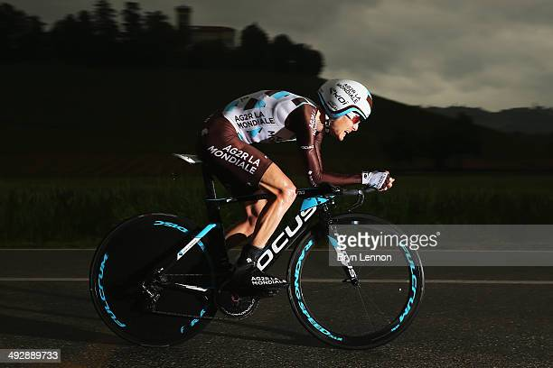 Hubert Dupont of France and AG2R La Mondiale in action during the twelfth stage of the 2014 Giro d'Italia a 42km Individual Time Trial stage between...