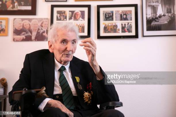 Hubert Germain 100 years old, is the last companion of the Liberation, he followed De Gaulle to England during the 2nd World War, is photographed for...