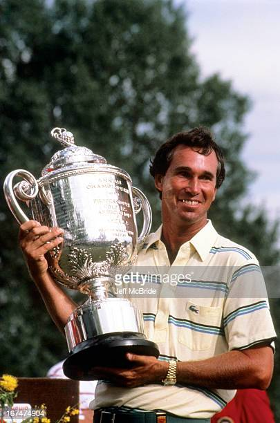 Hubert Green holding the Wanamaker Trophy during the 67th PGA Championship held at Cherry Hills Country Club in Englewood Colorado August 811 1985