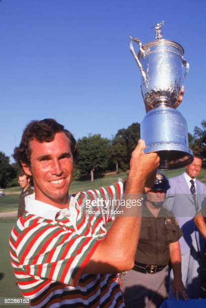Hubert Green shows off his trophy after winnig the 1977 U.S. Open at Southern Hills Country Club, Tulsa, Oklahoma.