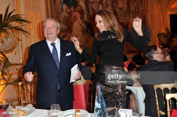 Hubert Guerrand Hermes and Marisa Berenson attend the 'The Children for Peace' Gala at Cercle Interallie on February 7 2014 in Paris France
