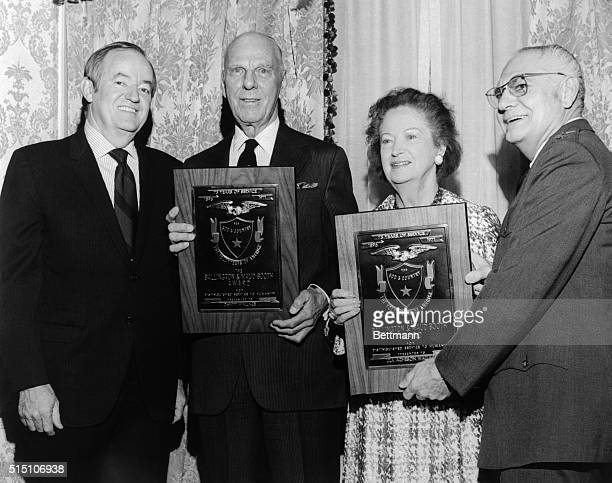 Hubert Humphrey Dewitt Wallace and Lila Acheson Wallace are shown here along with General John F McMahon Commander of Volunteers of America