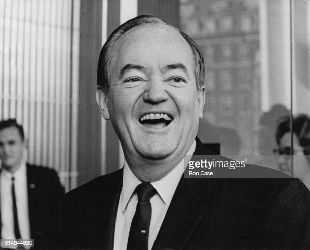 Hubert Humphrey , the US Vice President, arrives at the US Embassy in Grosvenor Square, London, after a visit to Chequers, 3rd April 1967. He is...