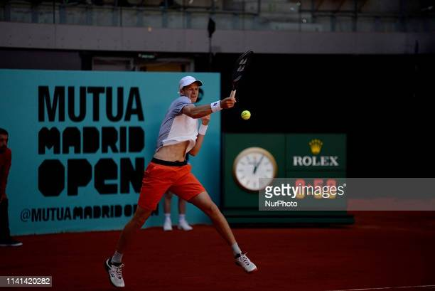 Hubert Hurkacz in hir match against Roberto Carballes Baena during day two of the Mutua Madrid Open at La Caja Magica in Madrid on 5th May 2019