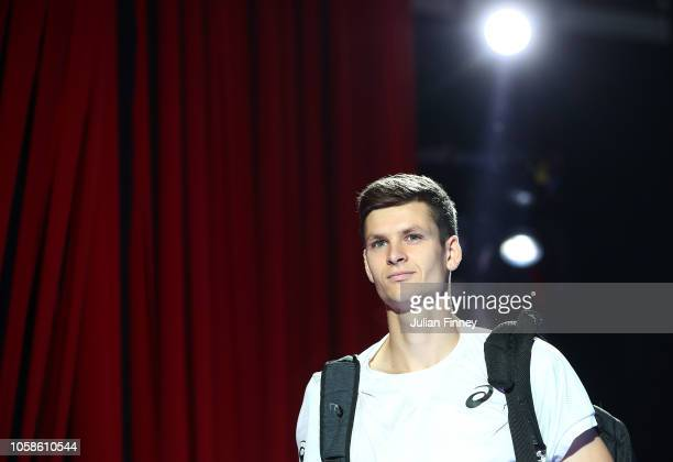Hubert Hurkacz of Poland arrives before his group match against Jaume Munar of Spain during Day Two of the Next Gen ATP Finals at Fiera Milano Rho on...