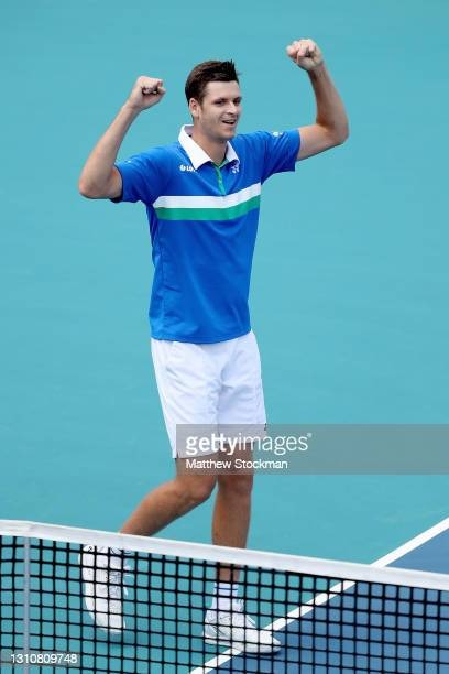 Hubert Hurkacz of Poland celebrates his win against Jannik Sinner of Italy during the final of the Miami Open at Hard Rock Stadium on April 04, 2021...