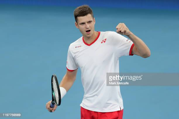 Hubert Hurkacz of Poland celebrates winning match point during his Group E singles match against Borna Coric of Croatia during day four of the 2020...