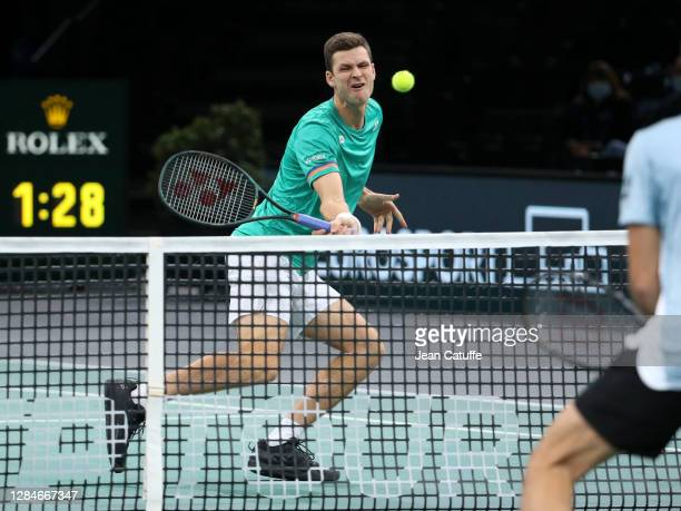 Hubert Hurkacz of Poland during the men's doubles final on day 7 of the Rolex Paris Masters, an ATP Masters 1000 tournament held behind closed doors...
