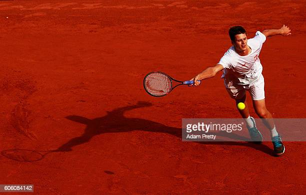 Hubert Hurkacz of Poland hits a forehand during his match against Florian Mayer of Germany during the 2nd rubber of the Davis Cup Playoff between...