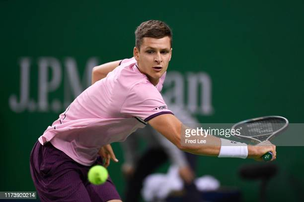 Hubert Hurkacz of Poland in action against Zhang Zhizhen of China during 2019 Rolex Shanghai Masters on Day 2 at Qi Zhong Tennis Centre on October 6...