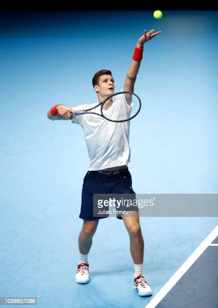 Hubert Hurkacz of Poland in action in his group match against Jaume Munar of Spain during Day Two of the Next Gen ATP Finals at Fiera Milano Rho on...