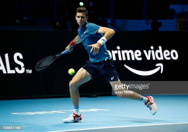 Hubert Hurkacz of Poland in action in his match against Frances Tiafoe of USA in the group stages during Day One of the Next Gen ATP Finals at Fiera...
