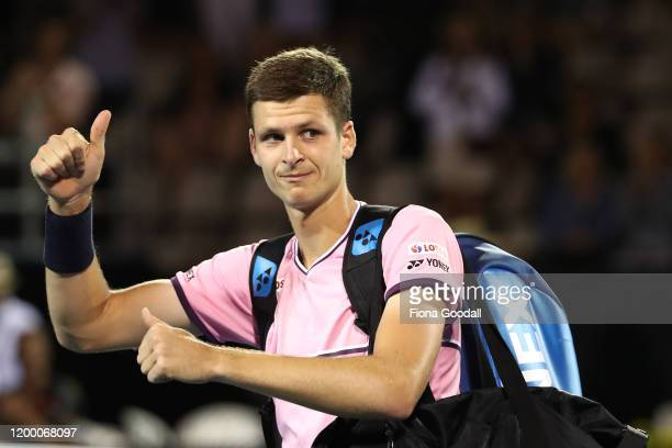 Hubert Hurkacz of Poland leaves the court after losing against Benoit Paire of France during the second semi final on day five of the 2020 ASB...