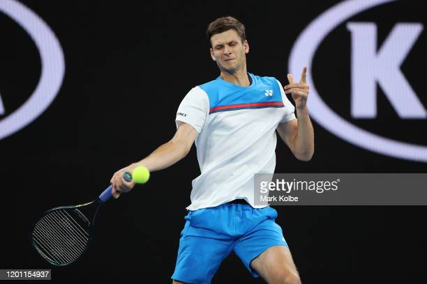 Hubert Hurkacz of Poland plays a forehand during his Men's Singles second round match against John Millman of Australia on day three of the 2020...
