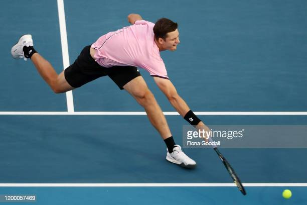 Hubert Hurkacz of Poland plays a forehand shot against Benoit Paire of France during the second semi final during day five of the 2020 ASB Classic at...