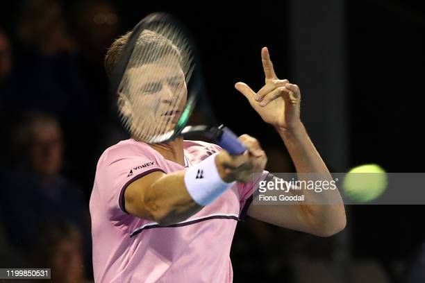 Hubert Hurkacz of Poland plays a forehand shot against Feliciano Lopez of Spain during day four of the 2020 ASB Classic at ASB Tennis Centre on...