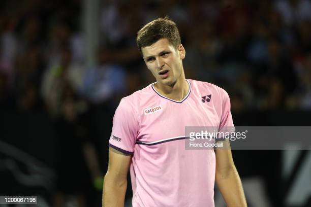 Hubert Hurkacz of Poland reacts to losing a point against Benoit Paire of France during the second semi final during day five of the 2020 ASB Classic...