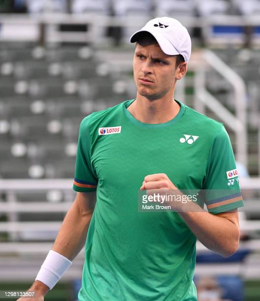 Hubert Hurkacz of Poland reacts to scoring a point against Christian Harrison during the Semifinals of the Delray Beach Open by Vitacost.com at...