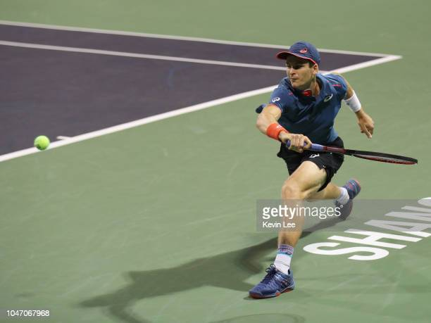 Hubert Hurkacz of Poland returns a shot to Ramkumar Ramanathan of India during the Qualifying match at 2018 Rolex Shanghai Masters on Day 1 at Qi...