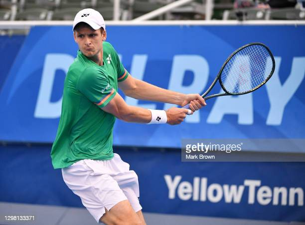 Hubert Hurkacz of Poland returns the shot against Christian Harrison during the Semifinals of the Delray Beach Open by Vitacost.com at Delray Beach...
