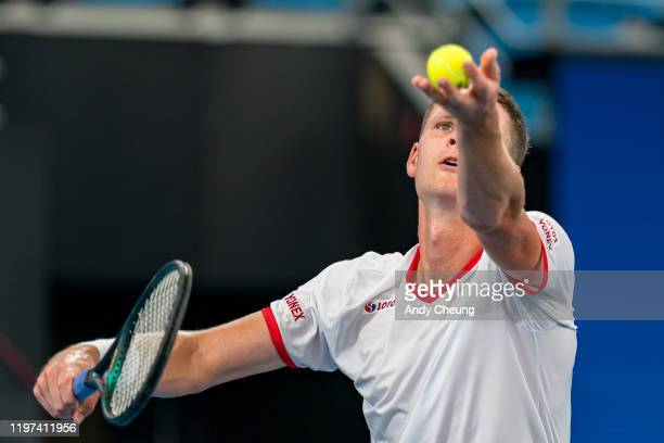 Hubert Hurkacz of Poland serves during his Group E singles match against Diego Schwartzman of Argentina during day two of the 2020 ATP Cup Group...