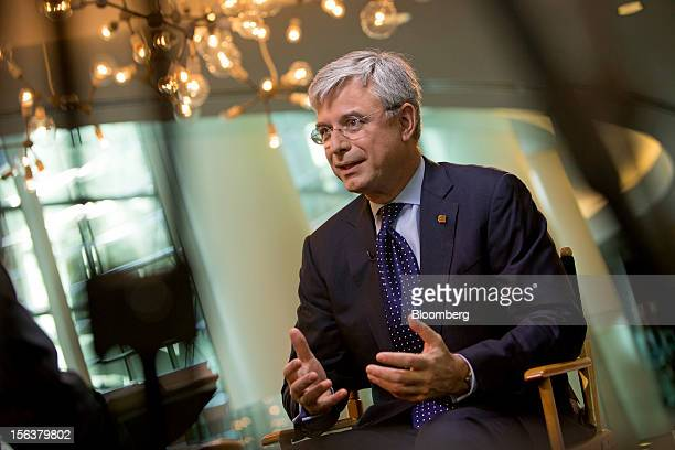Hubert Joly president and chief executive officer of Best Buy Co speaks during an interview in New York US on Wednesday Nov 14 2012 Joly is...