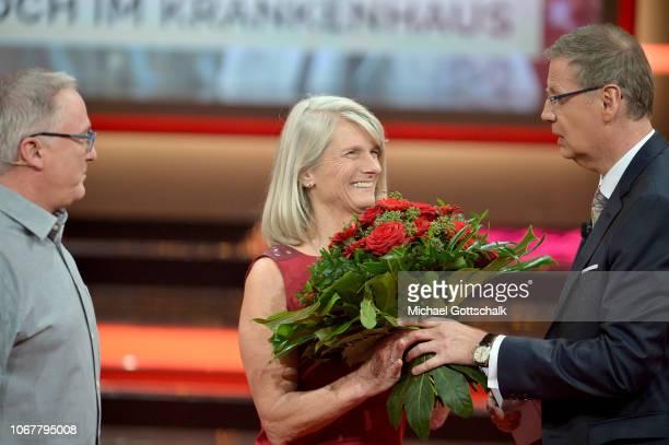 Hubert Kastner Melanie KastnerMuhmi and Günther Jauch speak on stage during the tv show '2018 Menschen Bilder Emotionen' on December 3 2017 in...