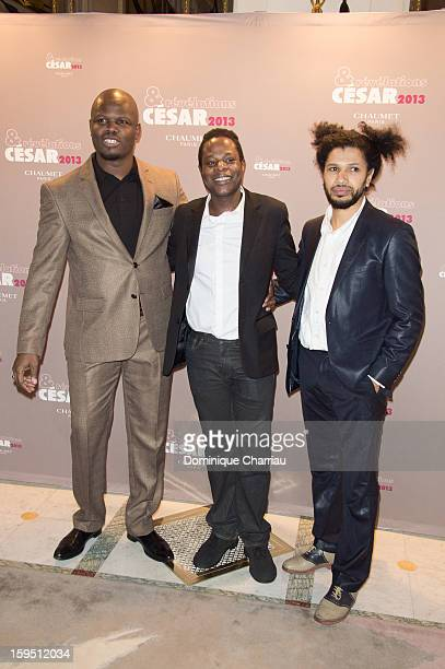 Hubert Kounde Stephane Soo Mongo and Rachid Djaidani attend the 'Cesar's Revelations 2013' Dinner Arrivals at Le Meurice on January 14 2013 in Paris...
