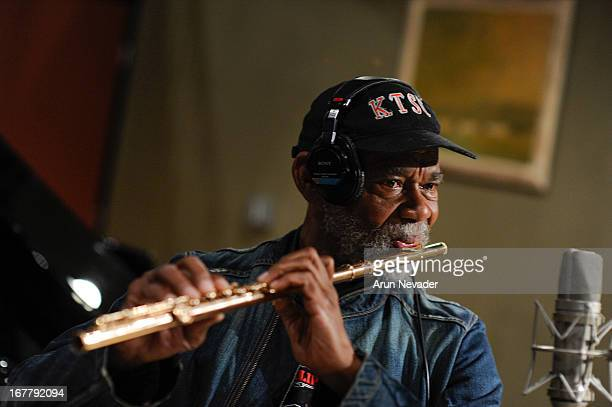 Hubert Laws records flute during the Kaylene Peoples My Man Recording Session with Hubert Laws at The Mouse House Studio on April 29 2013 in Altadena...